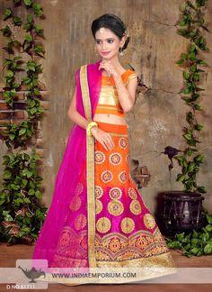 Sensational Orange & #Pink #Net #Embroidered #Kids #Lehenga #Choli
