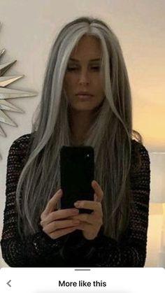 Grey Hair Don't Care, Long Gray Hair, Silver Grey Hair, Grey Hair Transformation, Grey Hair Inspiration, Gray Hair Highlights, Great Hair, Gorgeous Hair, Curly Hair Styles