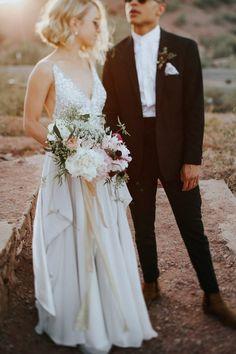 Beaded wedding dress, pale pink bouquet, sunset wedding portrait inspiration | image by Melissa Marshall Photography