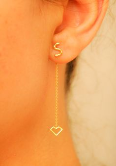 Gold Initial Earring  Initial Stud Earring  Tiny by eleajewelry, $26.00