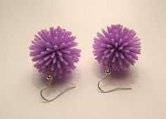 Purple Spiky Koosh Ball Earrings on French Wires.