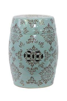 Ceramic Garden Stool Blue