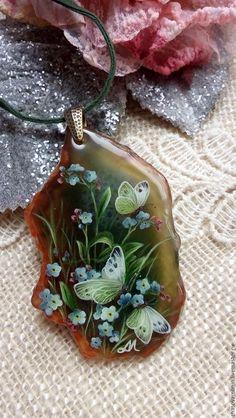 "Купить Кулон ""Вот и лето"". - тёмно-зелёный, лето, незабудки, незабудка, бабочка, бабочки"