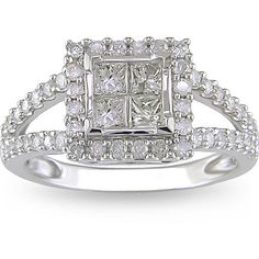 Show that special woman in your life just how much you love her with this timeless diamond princess-cut engagement ring. Made of 14-karat white gold and featuring icy halo diamonds, this sparkling ring is sure to capture her heart now and forever.