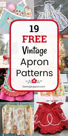 Vintage Apron patterns, diy projects, and sewing tutorials. Nineteen free full a… Vintage Apron patterns, diy projects, and sewing tutorials. Retro Apron Patterns, Apron Pattern Free, Vintage Apron Pattern, Aprons Vintage, Sewing Patterns Free, Free Sewing, Vintage Sewing, Pattern Sewing, Scrappy Quilts
