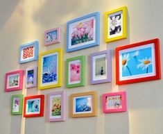 13 pieces one set of different size solid wood picture photo frame set wall clock mixed wall hangin Colorful Picture Frames, Hanging Picture Frames, Picture Frame Sets, Hanging Pictures, Frames On Wall, Hanging Kids Artwork, Wall Frame Set, Displaying Kids Artwork, Empty Frames