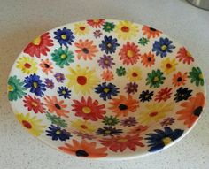 Colourful hand painted bowl from pinkyred.co.uk