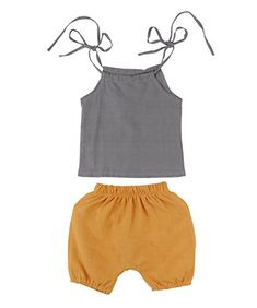 db22f22cc7d Baby Girls Boys Summer Sleeveless Tank TopPants Outfit Capri Set 06 months  greykhaki  gt  gt