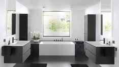 Corner Bathtub, Admiration, Bathrooms, House Ideas, Black Cabinet, Bathroom Interior, Shape Games, City Bathroom Inspiration, Bathroom Modern