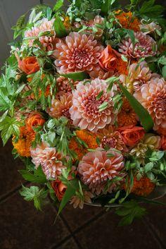 dahlia,rose and marigold