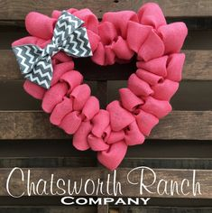 Valentine's Day HEART Love Rustic Burlap by ChatsworthRanchCo