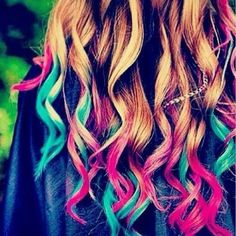 multi colored died tips. #cute #hair #colorful