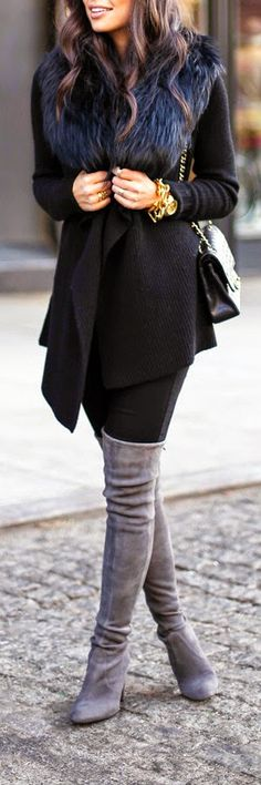 Bundled in Black - black-fur-collar, grey suede over the knee boots this is yes oh yes