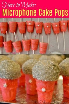 How to make Microphone Cake Pops with complete tutorial! Super cute and fun no bake Oreo cake pop microphones are a great recipe for a fun karaoke birthday dessert using mini ice cream cones. Oreo Cake Pops, No Bake Oreo Cake, Pear And Almond Cake, Almond Cakes, Microphone Cake, Jojo Siwa Birthday, Barbie Birthday, Unicorn Birthday, 7th Birthday