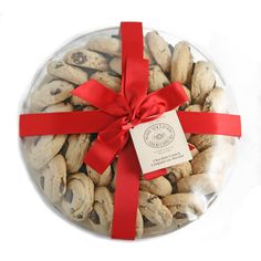 9 inch rounds with red ribbons and bows are perfect for sharing with guests at your holiday party!