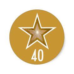"""""""Gold"""" Star """"40"""" age round sticker yellow"""