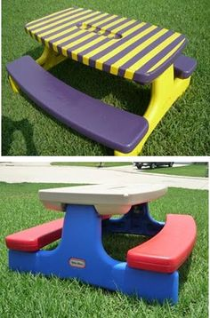 Update your LITTLE TIKES Picnic Table with a little paint-Looks like a brand new table now!