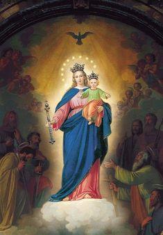 IMAGENES DE MARIA AUXILIADORA AUSILIATRICE AUXILIATRICE HELP OF CHRISTIANS Catholic Prayers, Catholic Art, Roman Catholic, Blessed Mother Mary, Blessed Virgin Mary, Santa Maria, Mama Mary, Catholic Religion, Mary And Jesus
