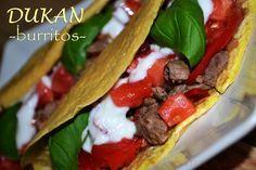Dukan Burrito Dukan Diet, Burritos, I Foods, Vegetarian, Ethnic Recipes, Breakfast Burritos