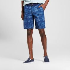 Men's Belted Flat Front Shorts with Stretch Navy Floral 31 - Mossimo Supply Co., Blue