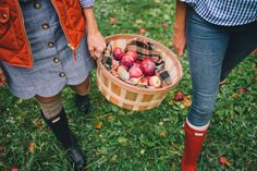 Gal Meets Glam Apple Picking In Vermont - J.Crew vest, Tuckernuck skirt, Hunter boots & cable knit socks