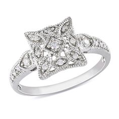 Diamond Vintage-Style Square Ring