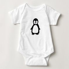 #cute #baby #bodysuits - #Simple black and white pinguin baby bodysuit
