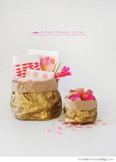 Try this last-minute wrapping idea for Valentine's-Day treats: all you need is a brown paper sack (and, okay, some gold spray paint, too). #DIY