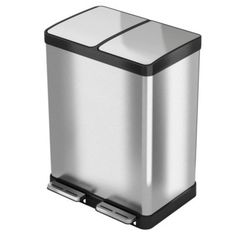 Halo 16 Gal Premium Stainless Steel Step Recycler Trash Can - Silver Recycling Station, Recycling Bins, Recycling Information, Trash Containers, Recycle Cans, Brushed Stainless Steel, Home Organization, Cleaning Wipes, Halo