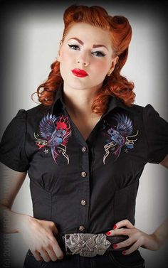 Rumble59 Ladies - Bluse Heaven 'n' Hell - Swallow Tattoo Bluse / Shirt im Old School Design - Rockabilly-Rules.com