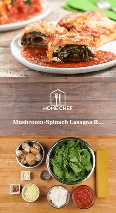 Mushroom-Spinach Lasagna Rolls with ricotta and mozzarella cheeses Each of these delicious rolls is Spinach Rolls, Spinach Lasagna Rolls, Spinach Ricotta, Vegetarian Stew, Vegetarian Recipes, Healthy Recipes, Italian Dishes, Italian Recipes, Mozzarella