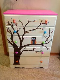DIY Owl baby dresser. An aqua baby owl nursery idea. #nursery #owl #theme #kidsrooms #dresser #DIY #crafts #upcycling #pink #tree