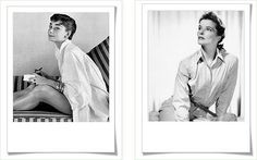 Audrey Hepburn and Katherine Hepburn in oxford shirts looking classy/sexy