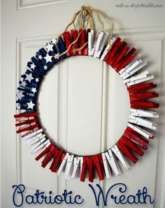 DIY Patriotic Wreath from Clothes Pins. An easy idea to dress up the door with this cute Patriotic wreath. http://hative.com/diy-patriotic-crafts-and-decorations-for-4th-of-july-or-memorial-day/