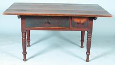 "Sold For $1,700         	   	        	   	           	      	                  Pennsylvania Walnut Pin-top Farm Table. Three board top, two lip-molded dovetailed drawers, beaded skirt and turned legs. Condition: losses to edge of one drawer and normal wear. (Hershey Museum) 30""h x 58""w x 38""d."