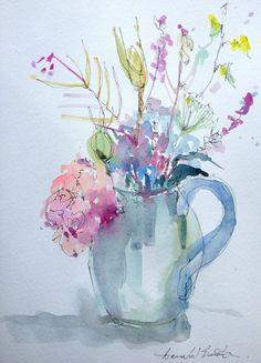 Original Watercolour Painting 'Hydrangea and Wild Flowers' Signed Annabel Burton