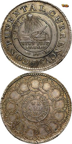 "N♡T. 1776 CONTINENTAL ""DOLLARS"" Continental Currency coin sold for $1,410,000"