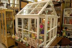 Decor Prop Greenhouse with Easter vignette inside