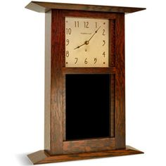 Our tile clocks are made by Schlabaugh and Sons, founded in 1981 and located in Kalona, Iowa. The Arts and Crafts clock is constructed of quartersawn oak. #Motawi #AnnArbor #Michiganmade #clocks