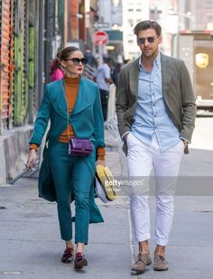 Olivia Palermo and Johannes Huebl are seen on April 26, 2018 in New York City.