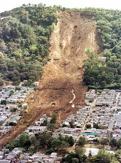 Deforestation-  This landslide in El Salvador in 2001, was caused after severe deforestation weakened the land, so that when an earthquake struck, the landslide alone killed 585 people in one town.