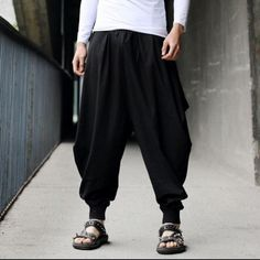 Fashion Men's Harem Baggy Hakama Linen Pants Casual Japanese Samurai Trousers