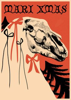 Mari Xmas Mari Lwyd Creepy Christmas New Year Greetings Cards (A6)