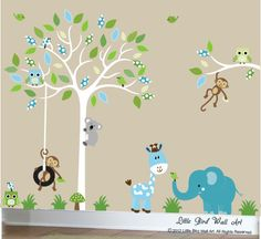 Fancy Childrens jungle decal set white tree by Littlebirdwalldecals