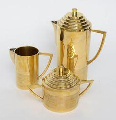 Deco Style Brass Tea Service