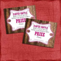 Printable Rustic Baby Shower Diaper Raffle Tickets by PuzzlePrints, $5.00