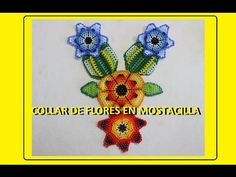 COLLAR FLOR EN MOSTACILLA PARTE UNO - YouTube Beading Projects, Beading Tutorials, Beading Patterns, Beaded Earrings, Beaded Jewelry, Crochet Earrings, Peyote Beading, Native American Beading, Handmade Felt