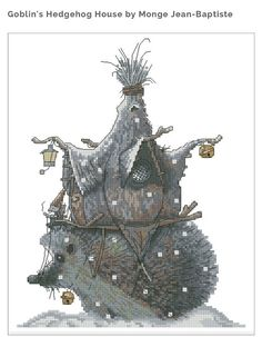 Cross Stitch Chart Goblin Hedgehog house Fantasy Series by Lena Lawson Needlearts - Art of Jean-Baptiste Monge