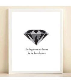 """""""This day, glimmer and shimmer like the diamond you are."""" Black and Grey Geometric Diamond by AmandaCatherineDes, $15.00"""