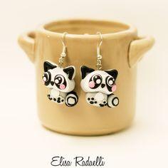 raccoon earrings polymer clay by ElisaRadaelli on Etsy